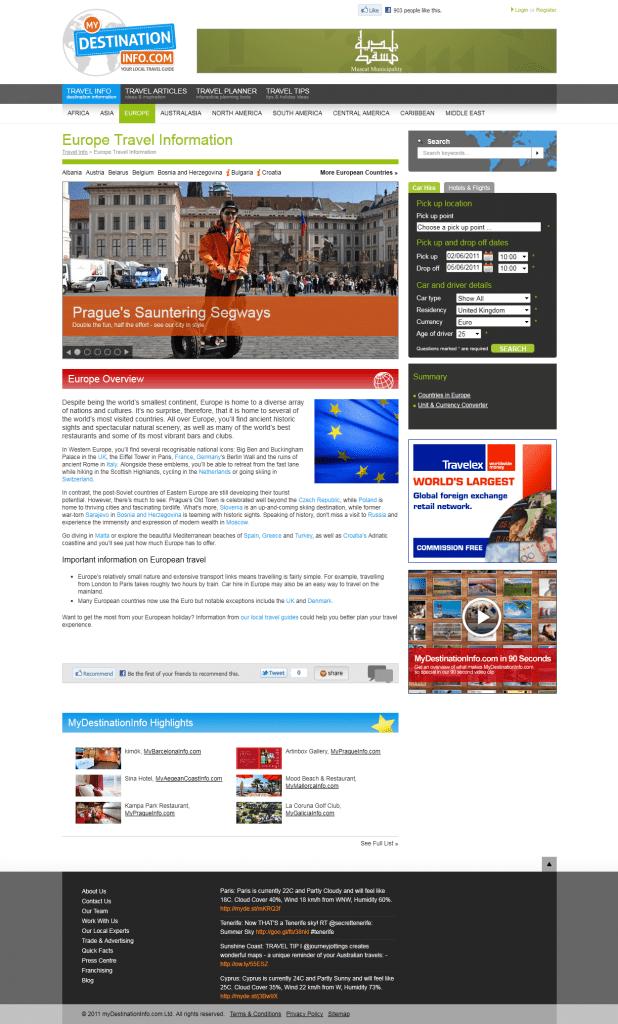 Hubsite Europre Travel Info