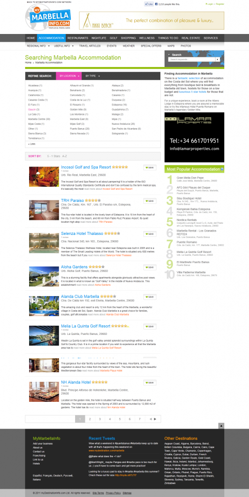 MyMarbellaInfo.com Accommodations Page