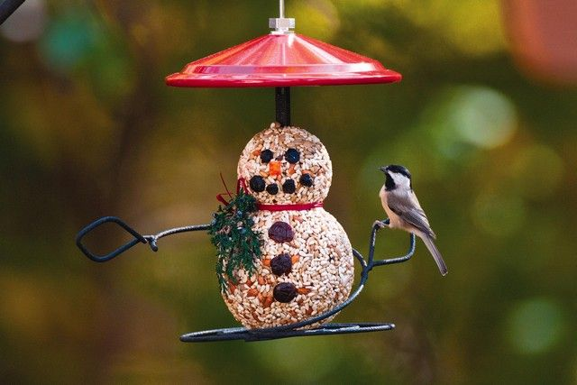 Wild Birds Unlimited Snowman with Chickadee Photo