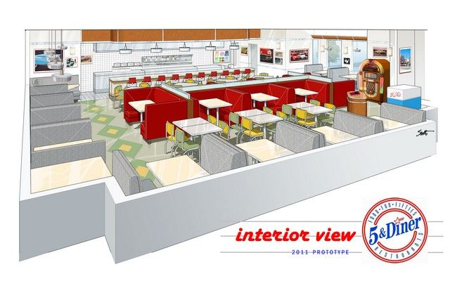 5 & Diner Interior Rendering