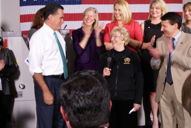 Mitt Romney with Karen Brinker, Alphagraphics Franchisee