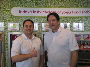 Menchie's franchisee Rich Ryan (right), with his son Ryan